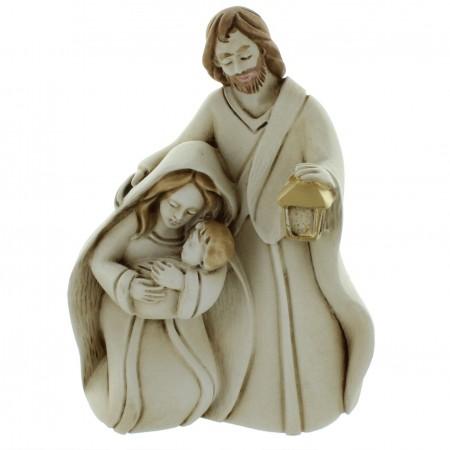 Statua della Sacra Famiglia in resina patinata 9,5cm