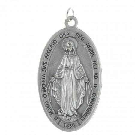 Médaille Miraculeuse grande taille en métal argenté 9cm