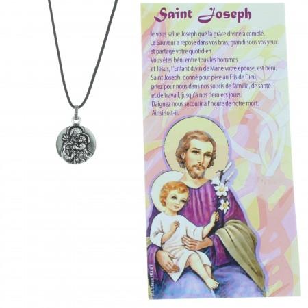Collier de Saint Joseph en corde avec sa prière