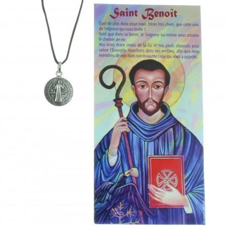 Collier de Saint Benoît en corde avec sa prière