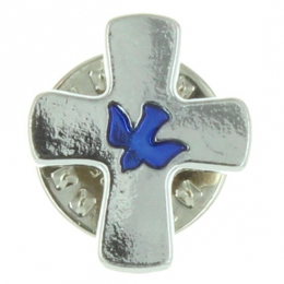 Cross-shaped pin with a blue dove