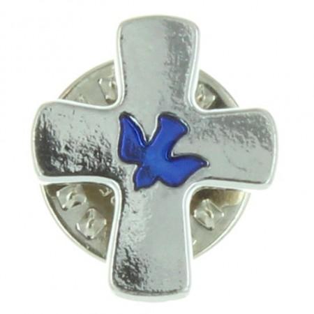 Spilla a croce con colomba blu