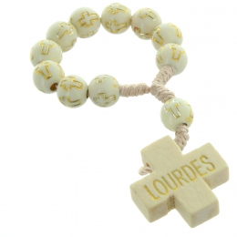 Lourdes one-decade rosary white and golden beads