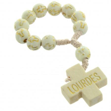 Rosario decina di Lourdes bianco e dorato