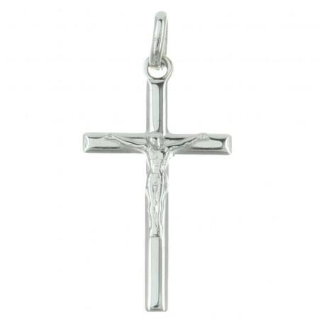 Pendentif croix en Argent avec le Christ et bords biseautés