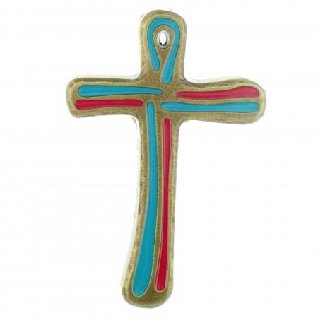 Crucifix en métal émaillé bleu et rouge 10cm