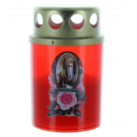 Bougie votive de Lourdes rouge pour extérieur 8cm