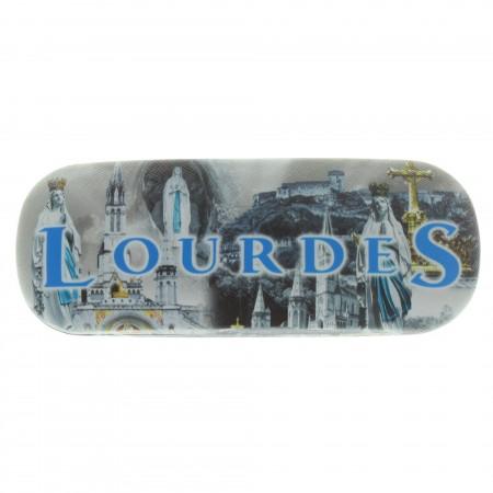 Etui à lunettes rigide décoré de vues de Lourdes