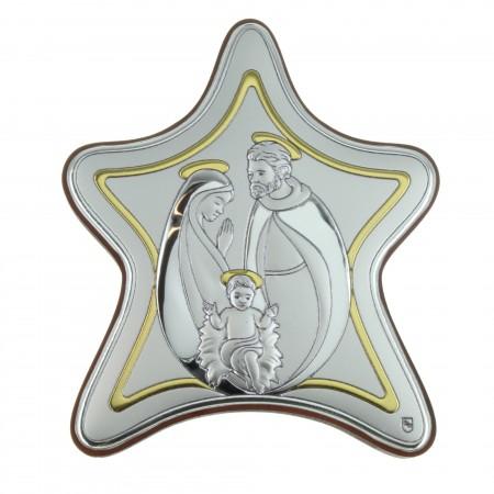 Cadre religieux de la Sainte Famille en forme d'étoile 10x9cm