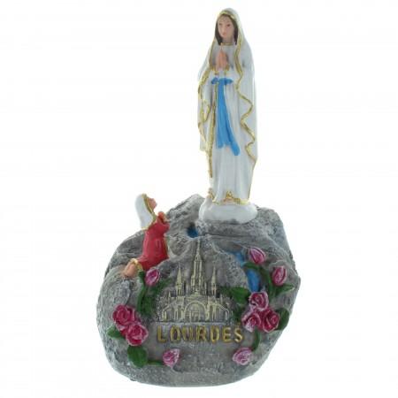 Statue musicale de l'Apparition de Lourdes en résine colorée 19cm