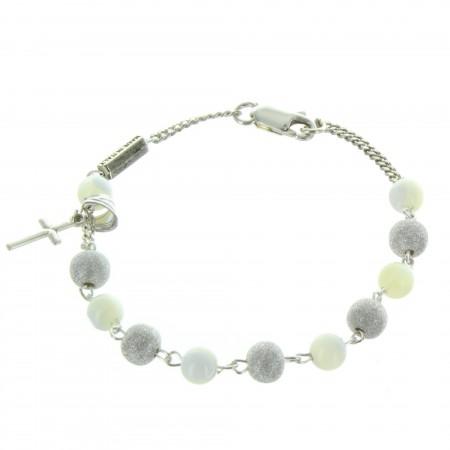 Bracelet religieux en Argent avec des perles en Nacre