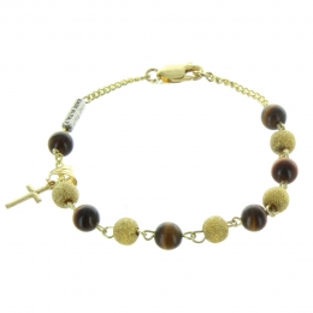Bracelet religieux en Argent avec des perles Oeil de Tigre et Plaqué Or