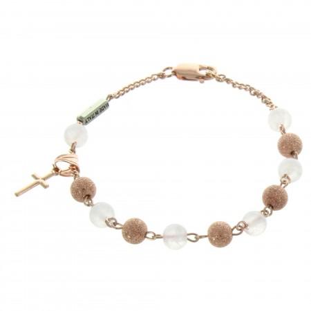 Bracelet religieux en Argent avec des perles en Quartz et Plaqué Or rose