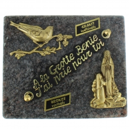 Plaque Funéraire de Lourdes rectangulaire en Granit et sujets en bronze 12x18cm