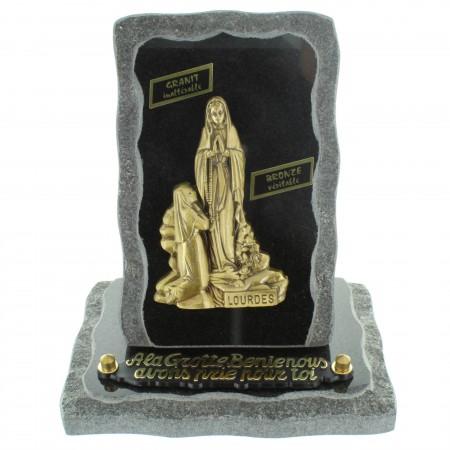 Plaque Funéraire en Granit sur socle avec l'Apparition de Lourdes en bronze 18x20cm