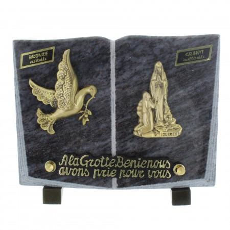 Plaque Funéraire en Granit en forme de livre avec des sujets en bronze 20x15cm