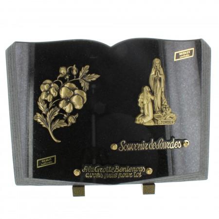Plaque Funéraire en Granit en forme de livre avec l'Apparition de Lourdes en bronze 36x25cm