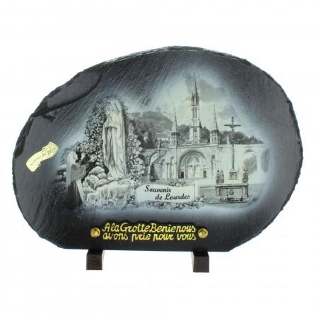 Plaque Funéraire de Lourdes en Ardoise des Pyrénées 33x24cm