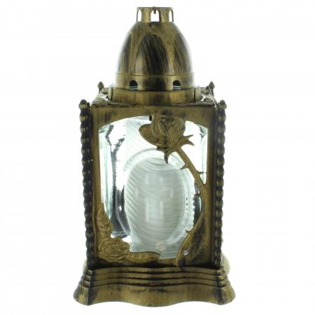 Lanterna funeraria per lapidi cimeteriale con effetto bronzo 23cm