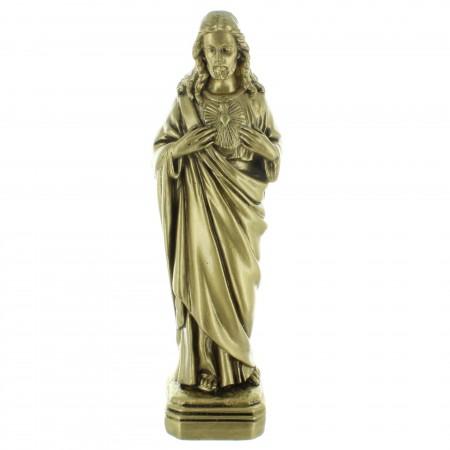 Statua del Sacro Cuore di Gesù in resina effetto bronzo per esterni 22cm