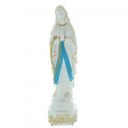 Statua della Vergine Maria luminosa con batteria in resina 31cm