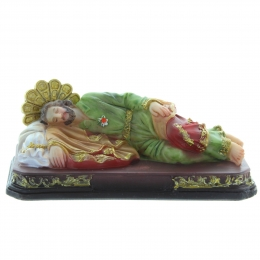 Sleeping Saint Joseph Statue in coloured resin 12cm