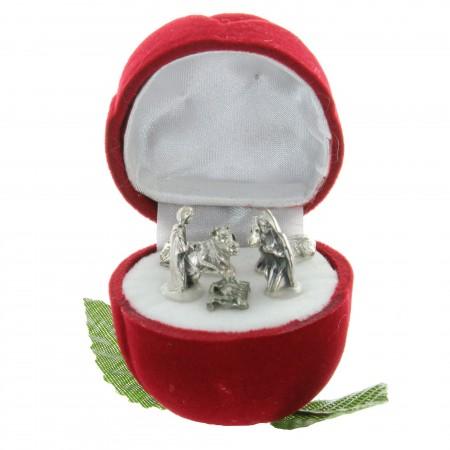 Nativity scene in a velvet red rose box