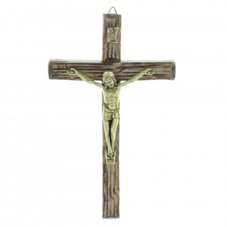 Crucifix imitation tronc d'arbre en résine avec un Christ effet bronze 20cm