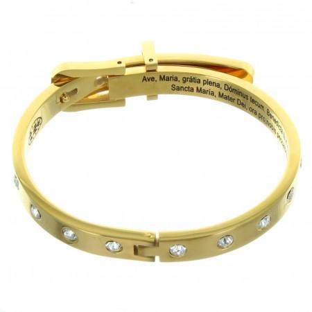 Golden steel Bracelet with Swarovski strass ingraved Ave Maria in Latin