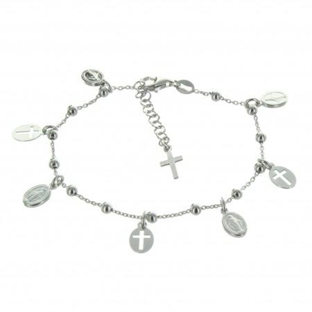 Bracciale in argento con medaglie miracolose e croci