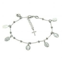 Silver Bracelet with Miraculous Medals and Crosses