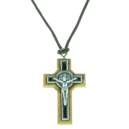 Saint Benedict Necklace with an olive wood cross