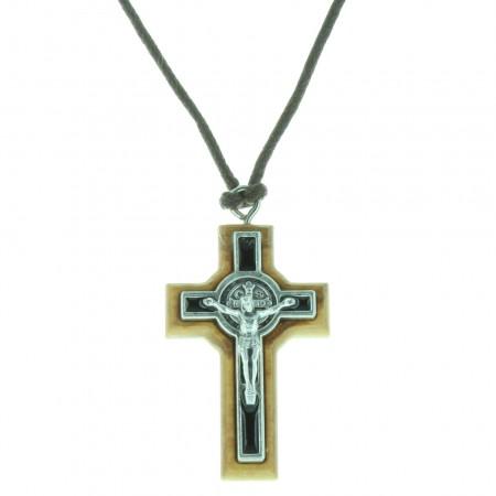 San Benedetto Collana con croce in legno d'ulivo