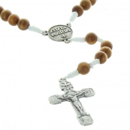 Chapelet de Lourdes en corde avec des grains en bois d'olivier