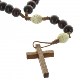 Wooden rosary on rope with carved paters