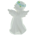 Angel Statue standing with a wreath of coloured roses 13cm