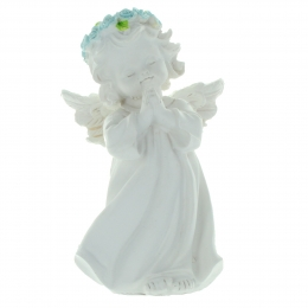 Statue d'Ange debout avec une couronne de roses colorées 13cm