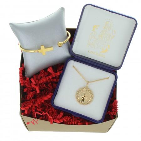 Coffret cadeau religieux de Noël, Mes bijoux de Lourdes en Plaqué Or