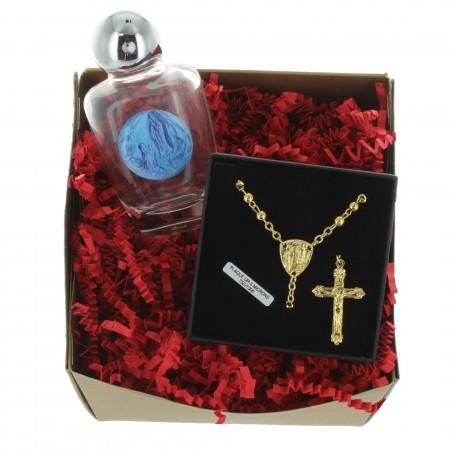 Coffret cadeau religieux de Noël, mon précieux chapelet de Lourdes