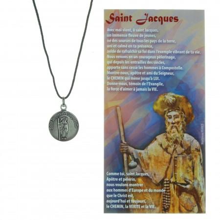 Collier de Saint Jacques en corde avec sa prière