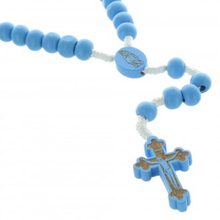 Chapelet de Lourdes en corde avec grains en bois bleu