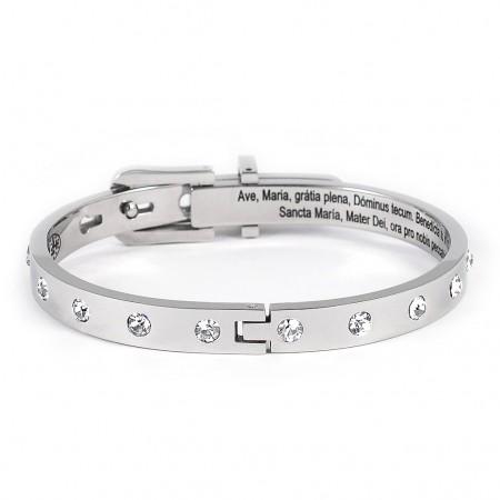 Bracelet dizainier en acier argenté et Swarovski avec l'Avé Maria en latin