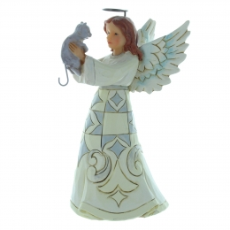 Resin Christmas angel holding a cat 14cm