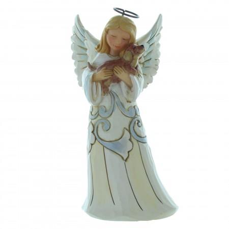 Resin Christmas angel holding a dog14cm
