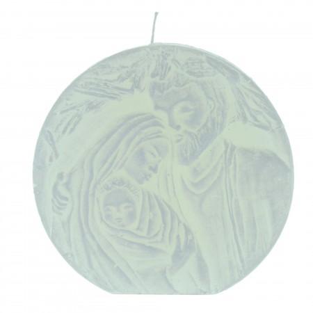 Candela bianca di Natale con la Sacra Famiglia 11cm