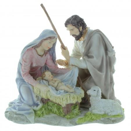 Statue de la Nativité en résine colorée 20cm