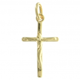 Gold Plated Classic Cross with Christ Pendant