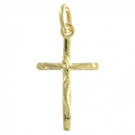 Pendentif croix Plaqué Or classique avec le Christ