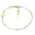 Our Lady of grace  golden Silver Bracelet with Swarovski crystals