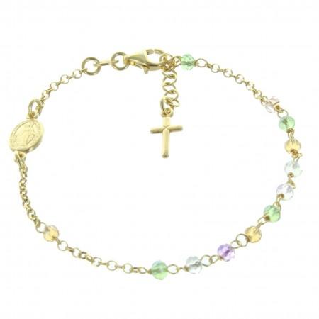 Bracciale della Vergine Miracolosa in argento dorato con cristalli Swarovski